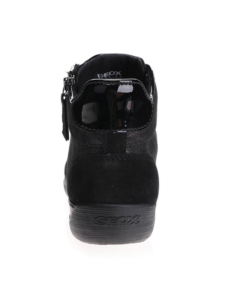 Černé třpytivé dámské kotníkové kožené tenisky Geox Myria C