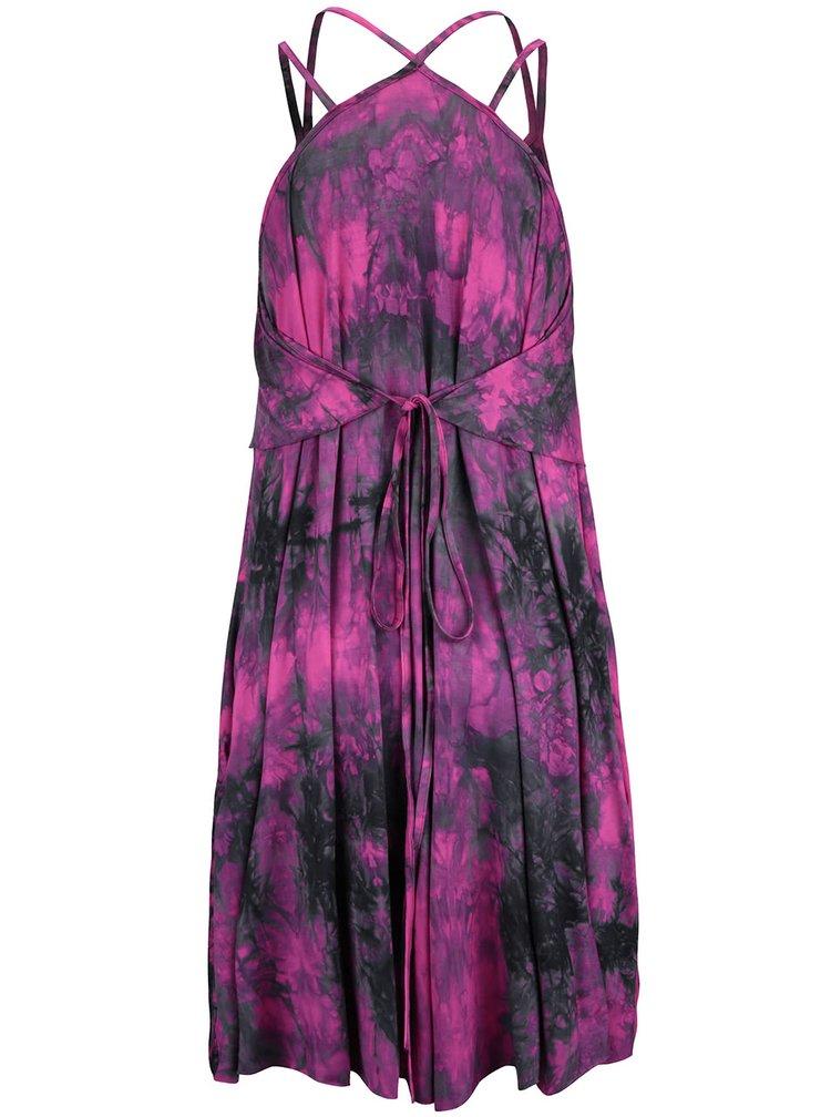 Růžovo-černé volnější kojící šaty GLOGLO