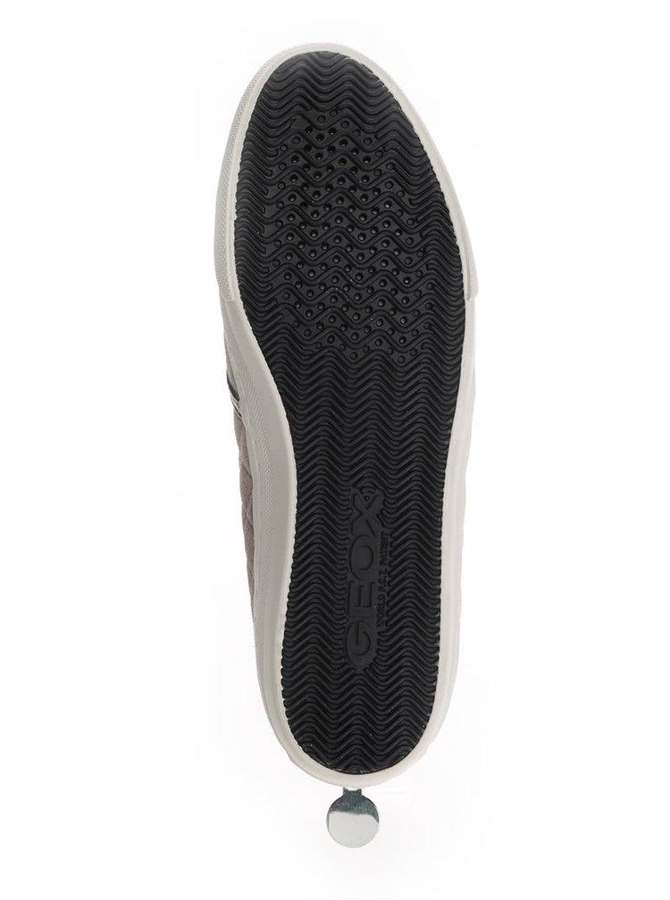 Šedobéžové dámské semišové slip on tenisky s metalickými detaily Geox New Club