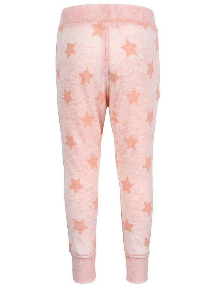 Světle růžové žíhané holčičí tepláky s hvězdami name it Lami