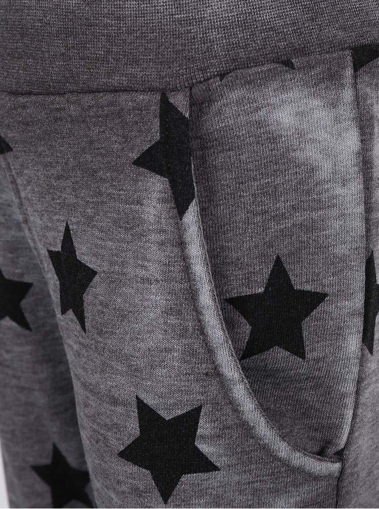 Sivé melírované dievčenské tepláky s hviezdami name it Lami