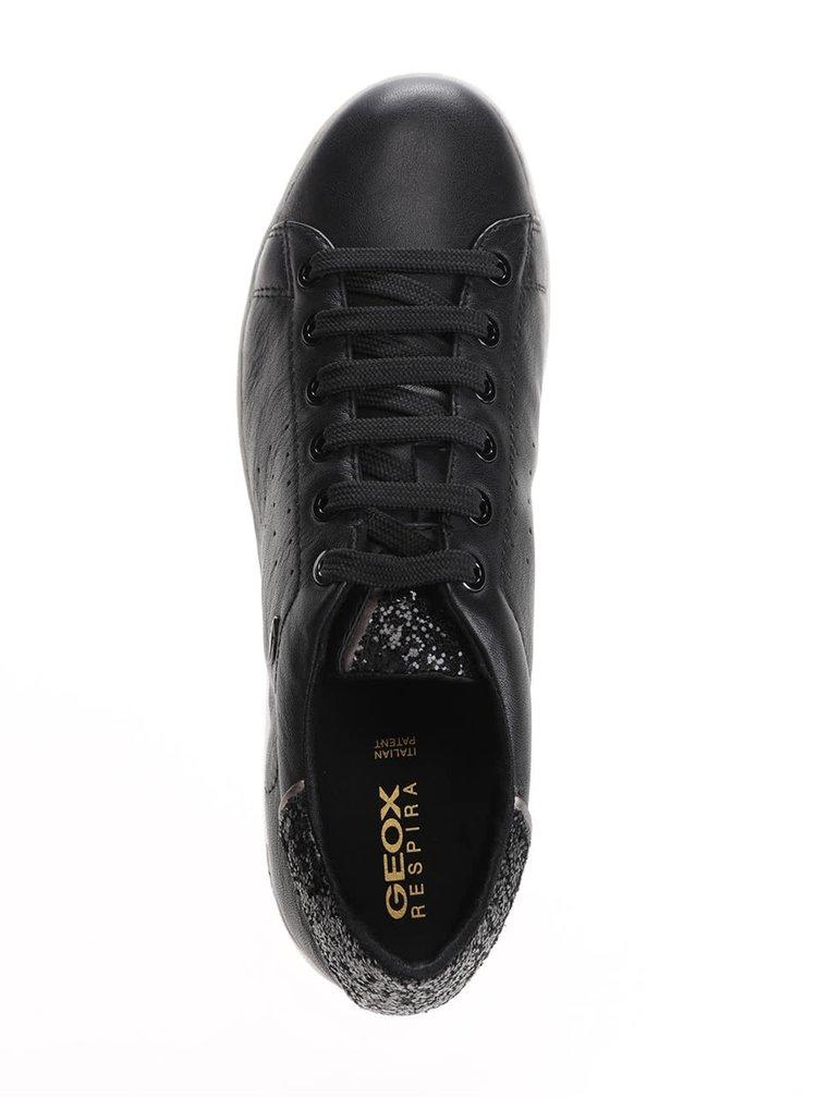 Černé dámské kožené tenisky se třpytivými detaily Geox Jaysen