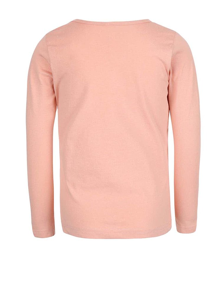 Marhuľové dievčenské tričko s dlhým rukávom name it Veen