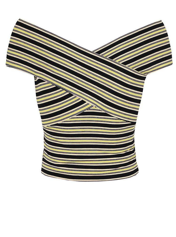 Žluto-černý pruhovaný top Miss Selfridge