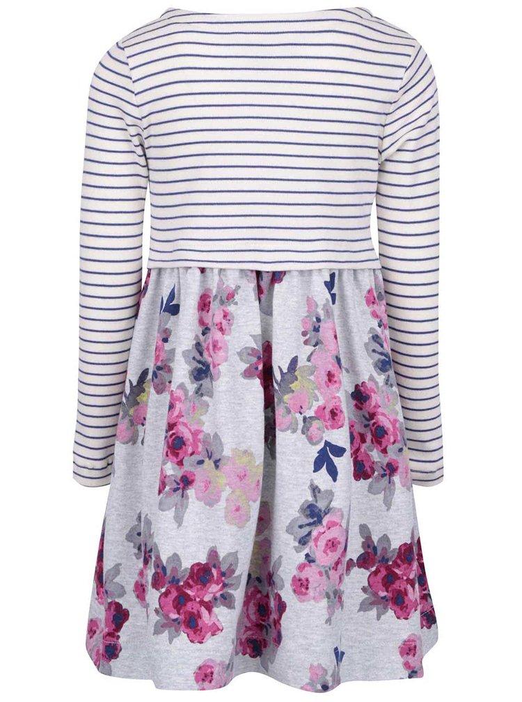 Sivé dievčenské šaty s kvetmi a prúžkami Tom Joule Layla