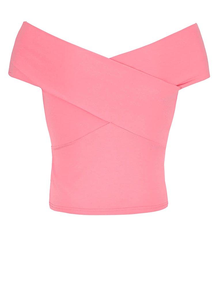 Ružový top s odhalenými ramenami Miss Selfridge