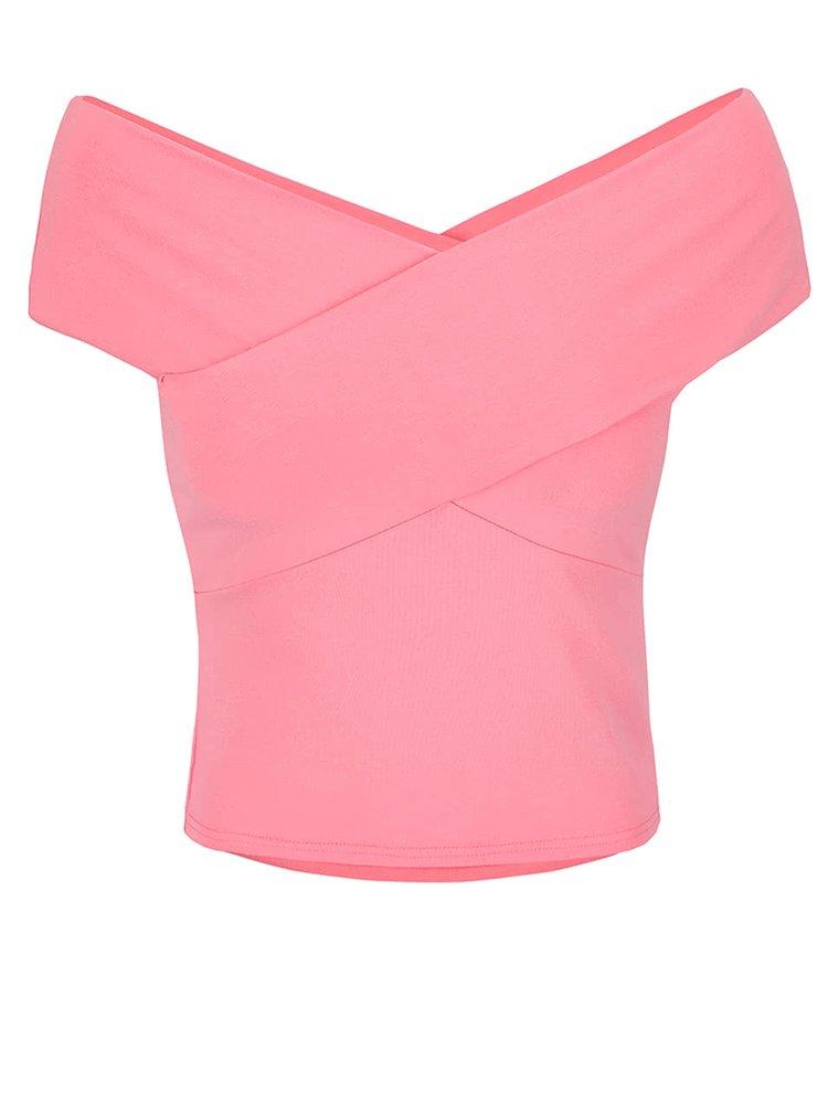 Růžový top s odhalenými rameny Miss Selfridge