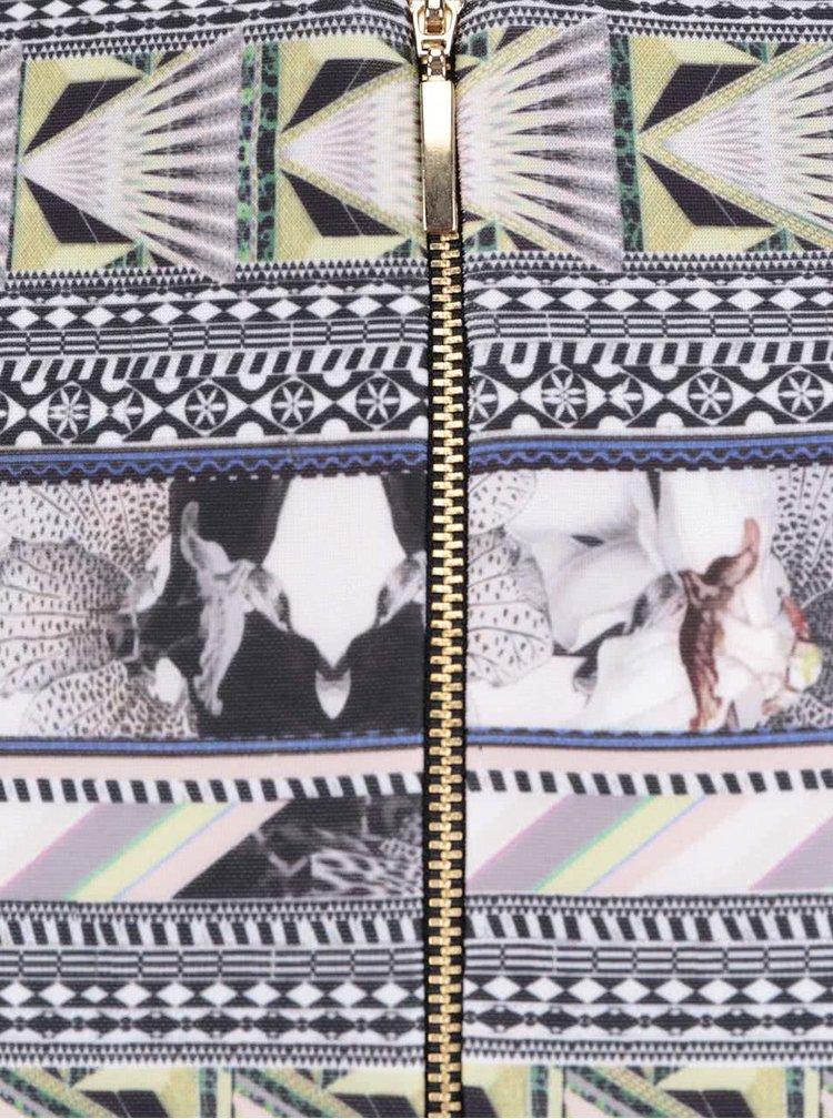 Čierna sukňa s tropickým vzorom Miss Selfridge
