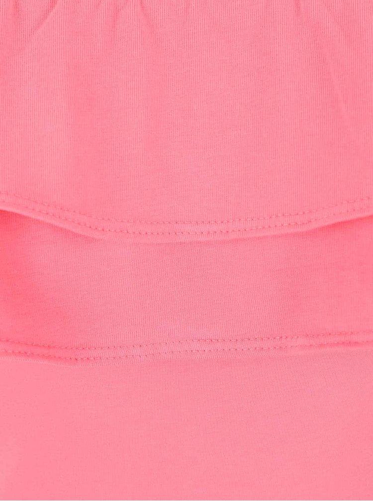 Růžové body s volánkem a odhalenými rameny Miss Selfridge