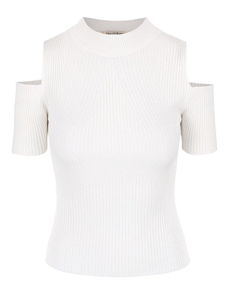 Krémový úpletový top s průstřihy na ramenou Miss Selfridge