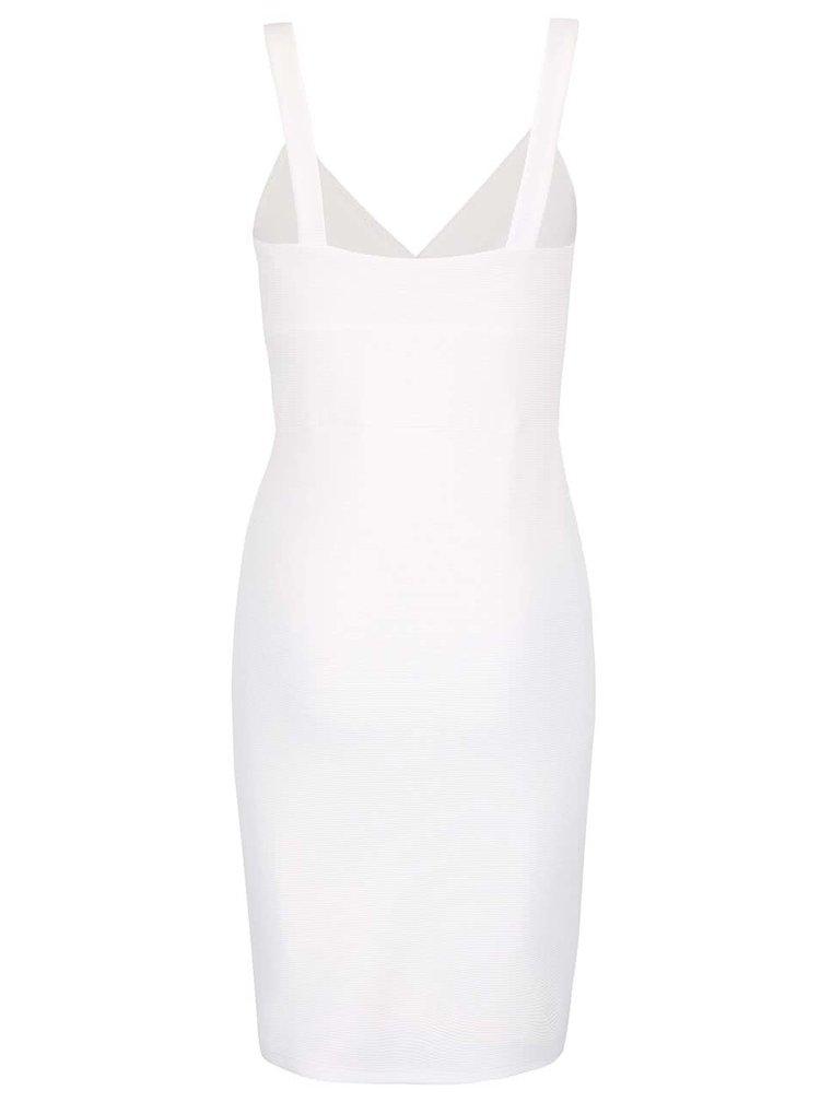 Krémové strečové šaty s překládaným výstřihem Miss Selfridge