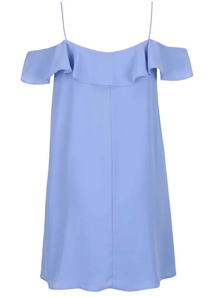 Světle modré volnější šaty s odhalenými rameny Miss Selfridge