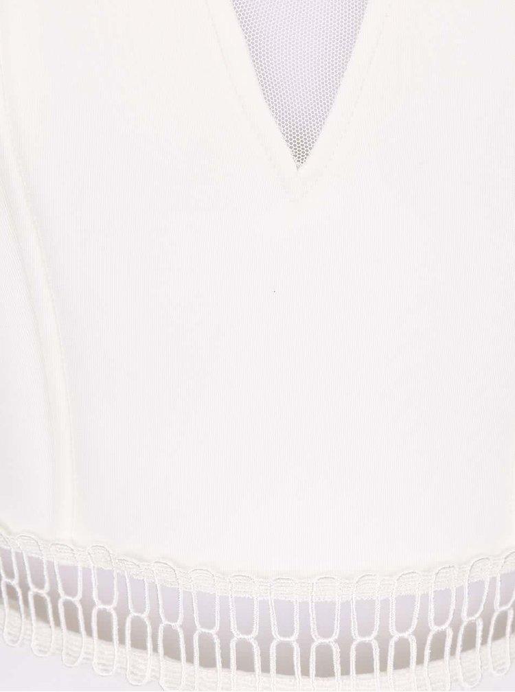 Krémové šaty s krajkovaným lemem a průsvitnými zády Miss Selfridge