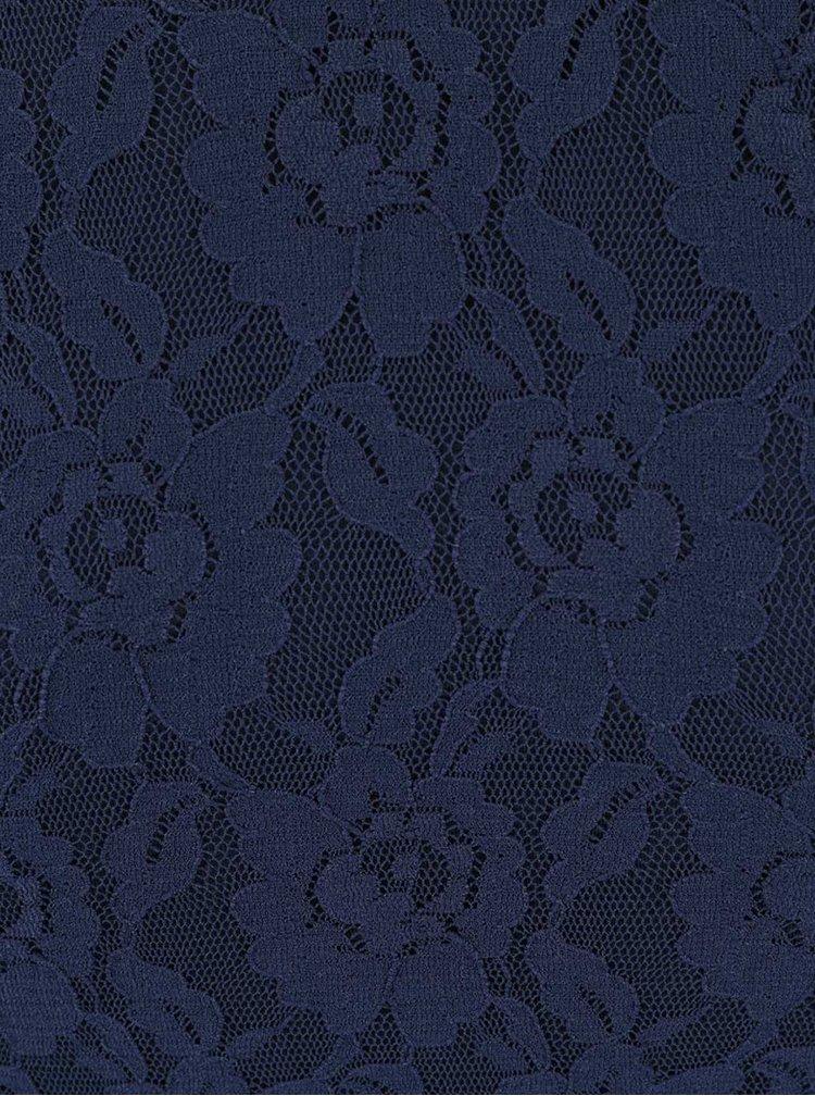 Tmavomodré čipkované šaty s 3/4 rukávom VERO MODA Lilly
