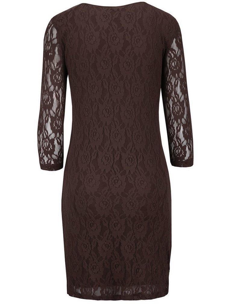 Tmavohnedé čipkované šaty s dlhým rukávom VERO MODA Lilly