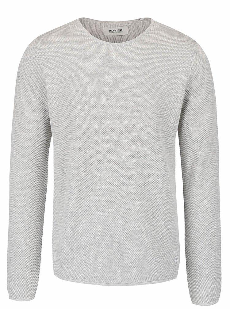 Světle šedý lehký svetr ONLY & SONS Gason
