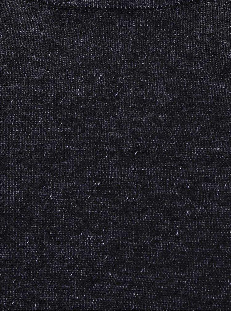 Černý žíhaný svetr s kulatým výstřihem ONLY & SONS Garson