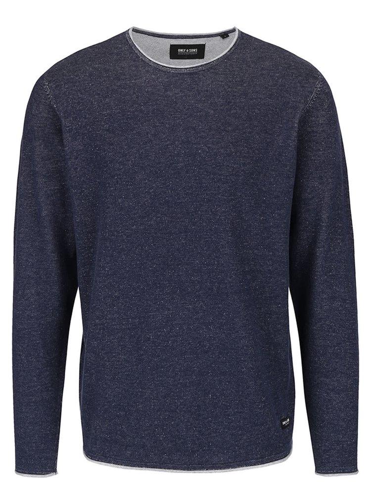 Sivomodrý melírovaný sveter s okrúhlym výstrihom ONLY & SONS Garson