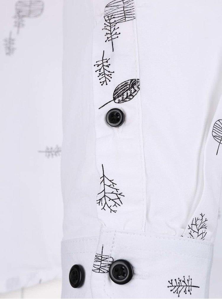 Biela vzorovaná slim fit košeľa ONLY & SONS Bob