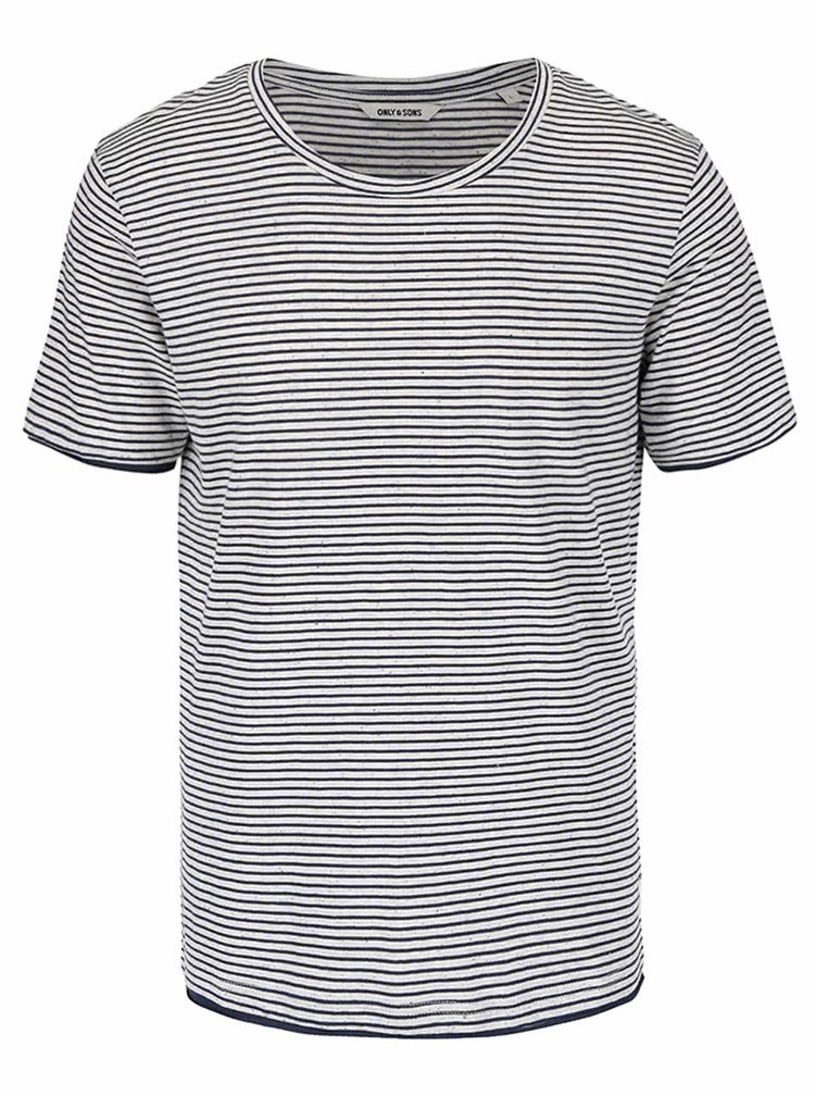 Tricou cu dungi ONLY & SONS Nord din bumbac
