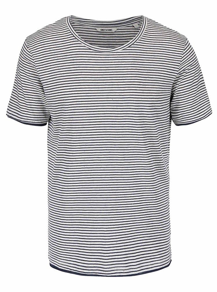 Modro-krémové melírované pruhované tričko ONLY & SONS Nord