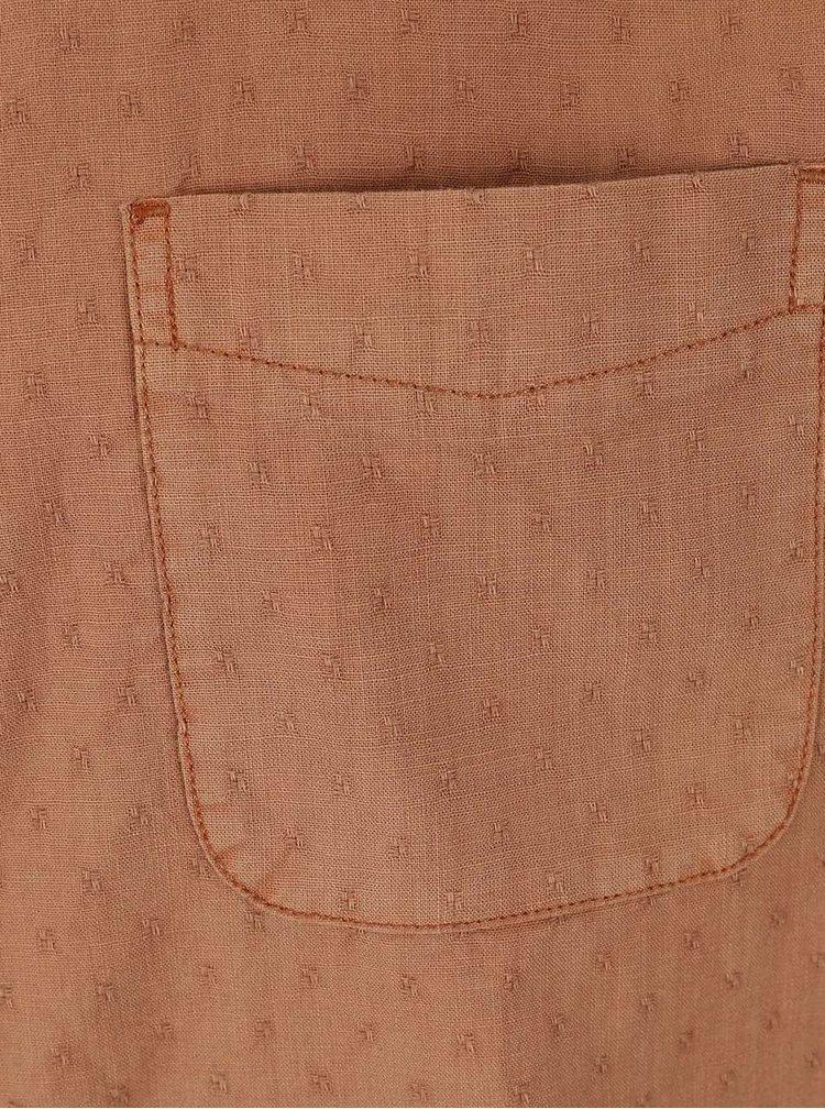 Hnedá košeľa s drobným vzorom s krátkym rukávom Burton Menswear London
