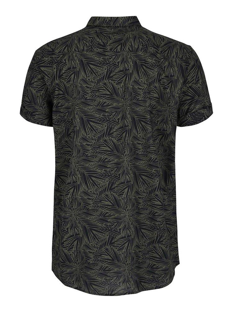 Khaki košile se vzorem a krátkým rukávem Burton Menswear London