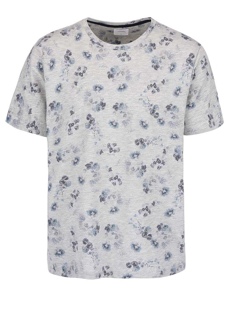 Šedé triko s květy Burton Menswear London