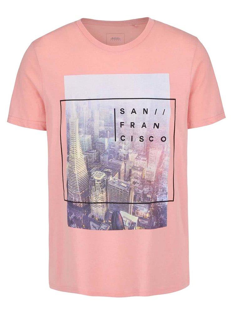 Růžové triko s potiskem Burton Menswear London