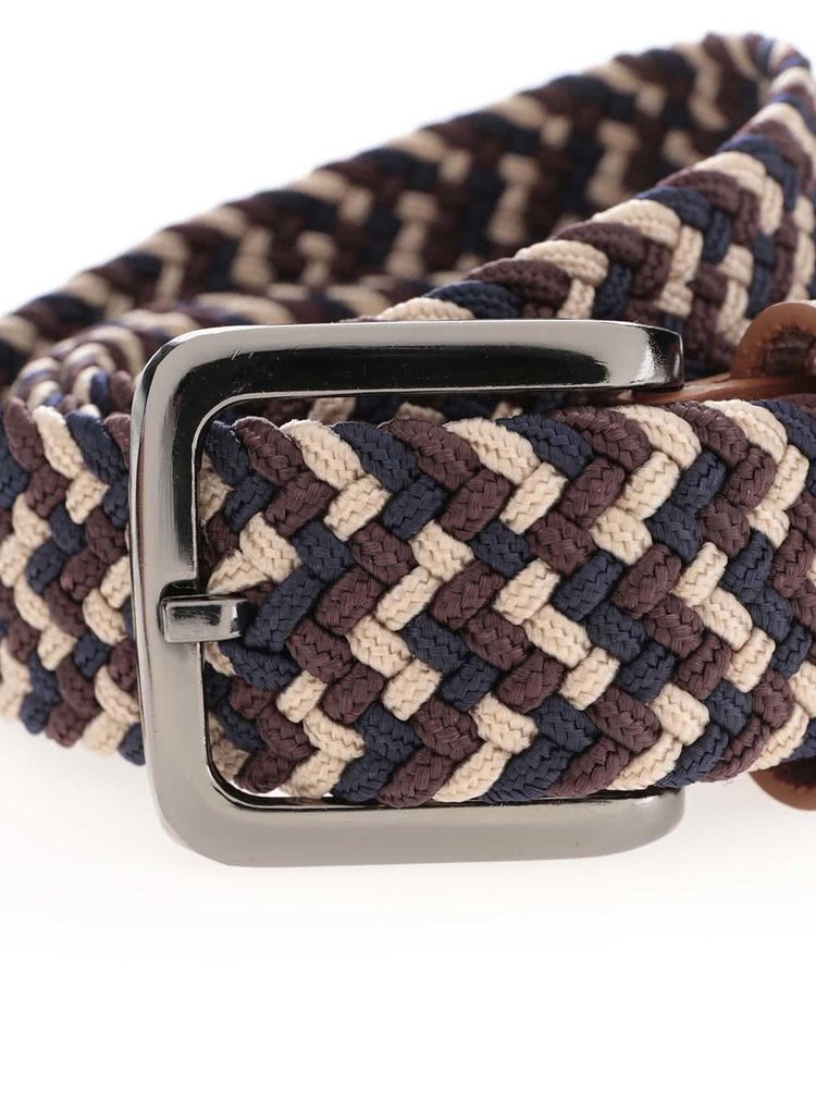 Hnědo-béžový proplétaný pásek Burton Menswear London