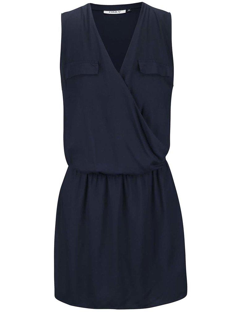 Tmavě modré překládané šaty bez rukávů ONLY Kant