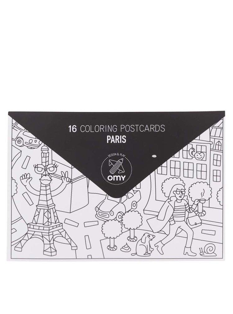 Set 16 cărți poștale de colorat Paris OMY