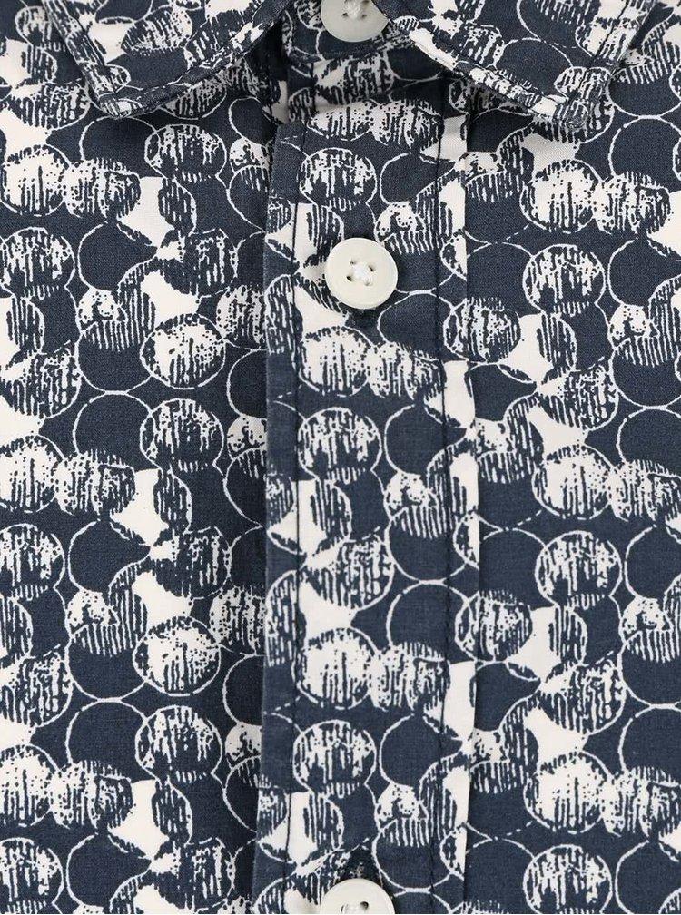 Krémovo-modrá vzorovaná košile Selected Homme One Bob