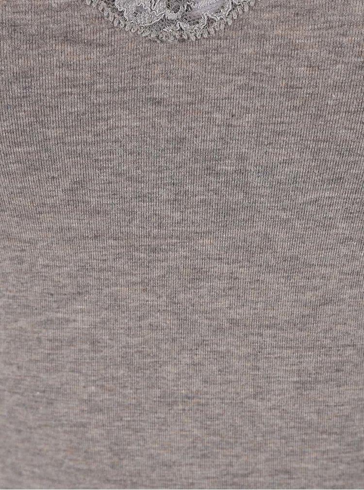Šedé žíhané tílko s krajkovým lemem DKNY