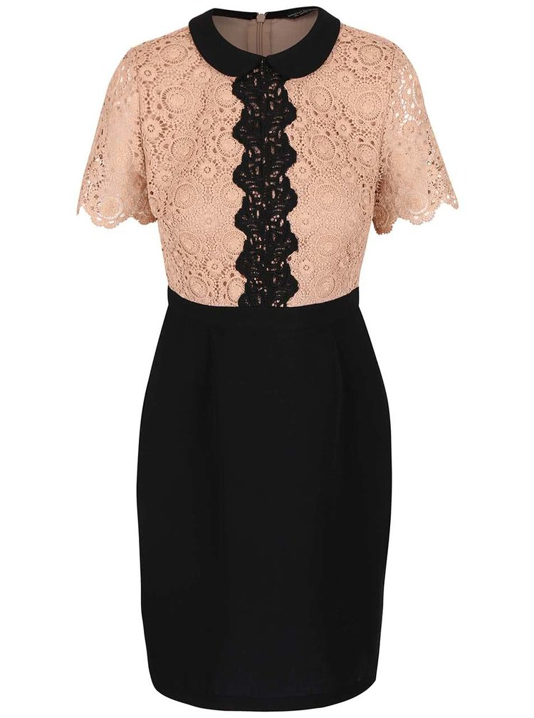 Hnedo-čierne šaty s čipkovaným topom Dorothy Perkins