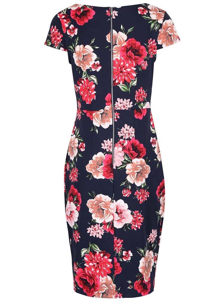 Tmavomodré puzdrové šaty s ružovými kvetmi Dorothy Perkins