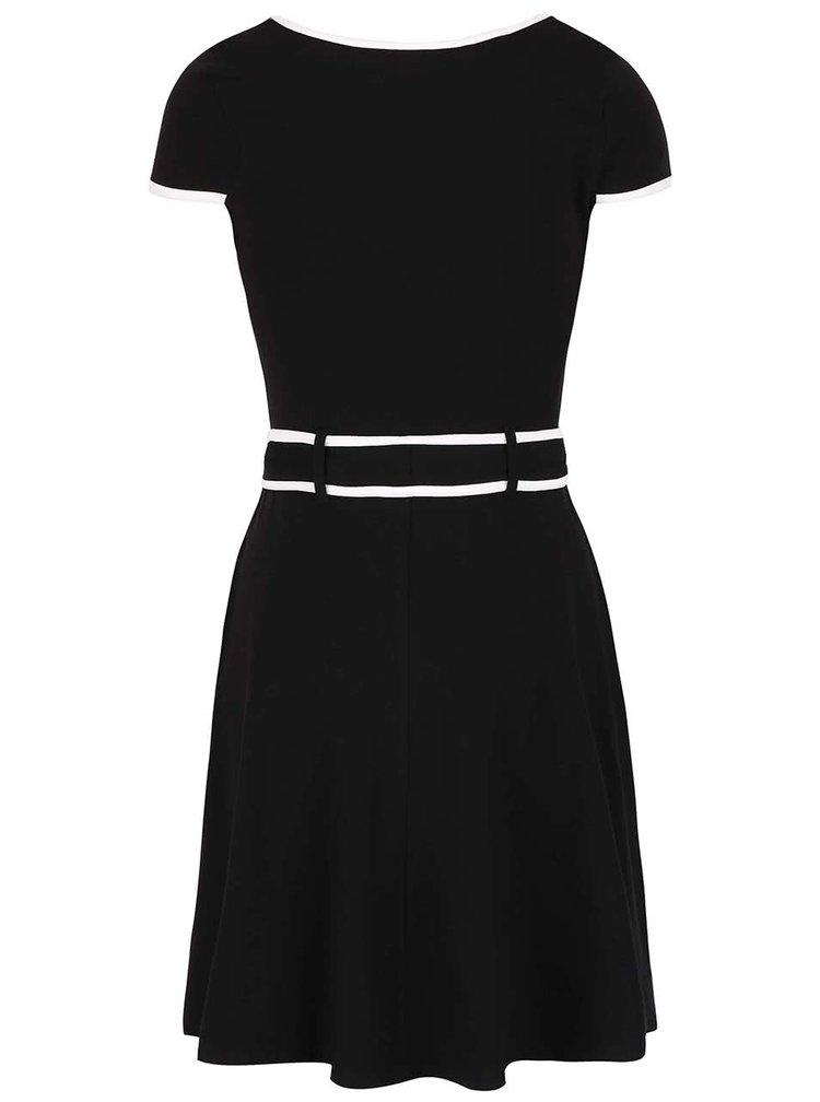 Černé šaty s bílým lemováním a páskem Dorothy Perkins
