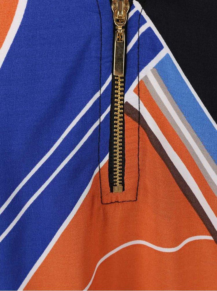 Modro-oranžové šaty s geometrickým vzorem Dorothy Perkins