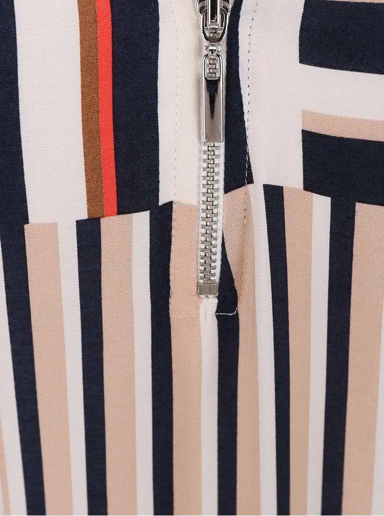 Modro-krémové šaty s prodlouženou zadní délkou Dorothy Perkins