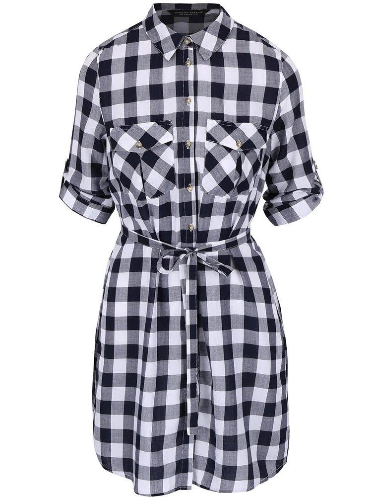 Bílo-modré kostkované šaty košilového typu Dorothy Perkins