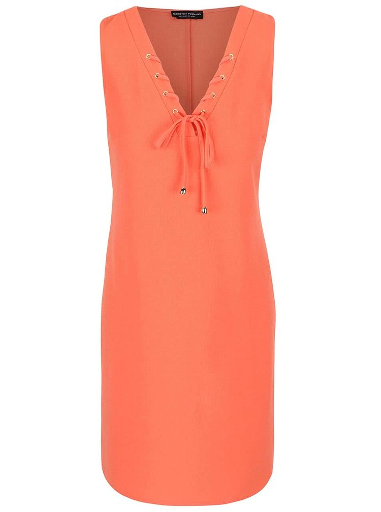 Oranžové šaty se šněrováním ve výstřihu Dorothy Perkins