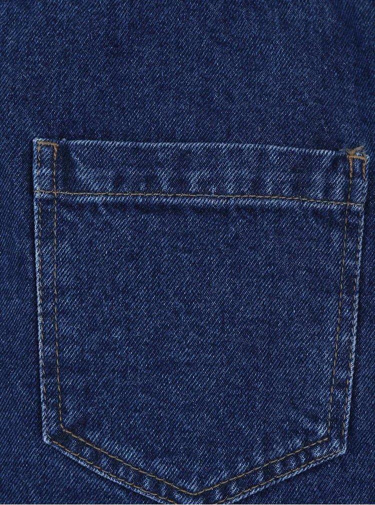 Modré džínové šaty s laclem a nášivkami Dorothy Perkins