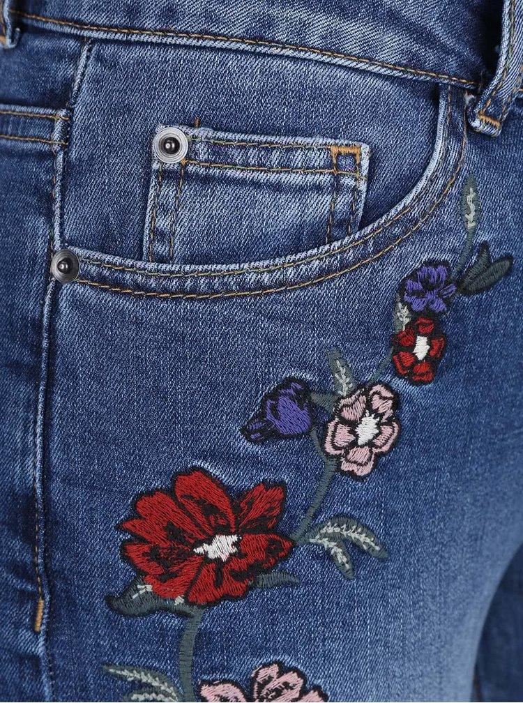 Modré rovné džíny s vyšívanými květy Dorothy Perkins