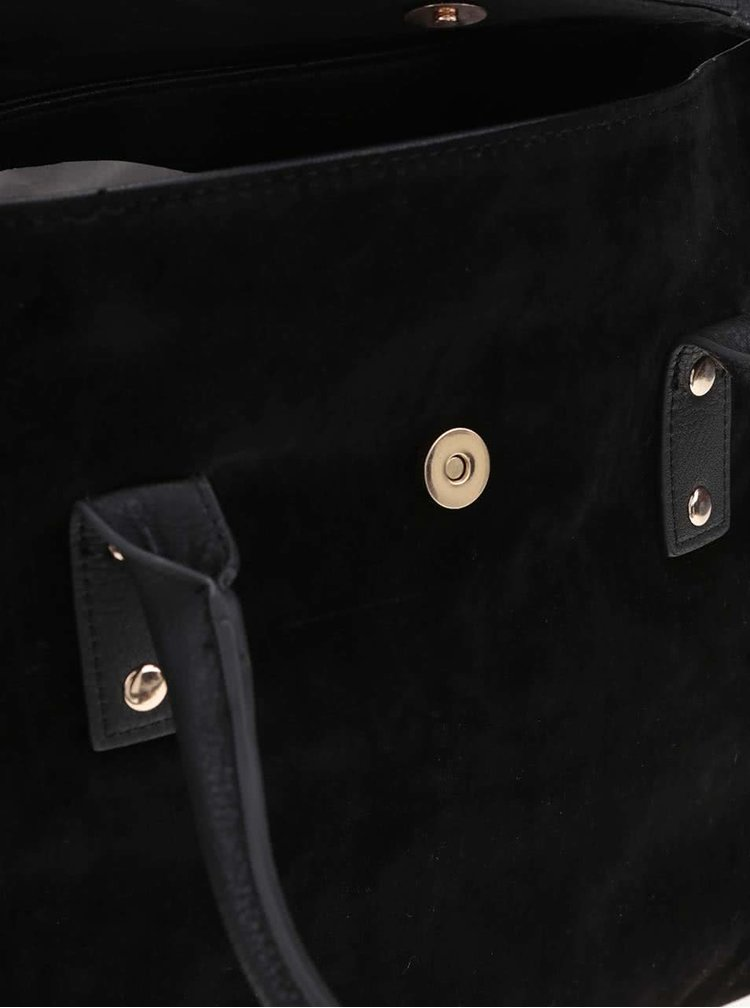 Černá kabelka s detailem v semišové úpravě Pieces Pi