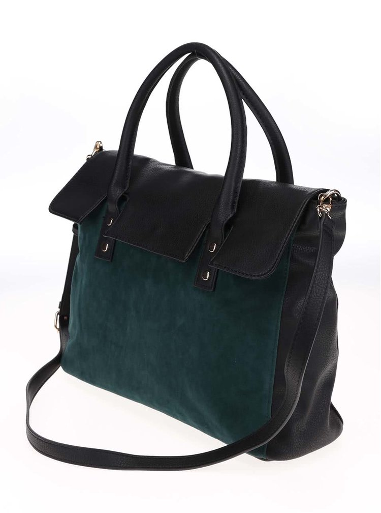 Zeleno-černá kabelka s detaily v semišové úpravě Pieces Pi