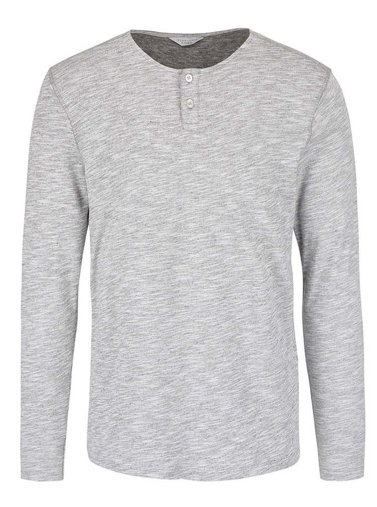 Sivé melírované tričko s dlhým rukávom Jack & Jones Mason