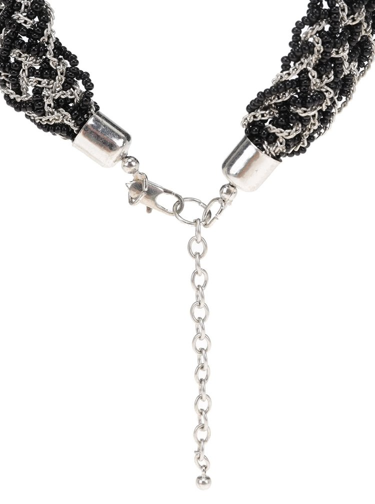 Colier negru cu argintiu Pieces Pina tip impletitura