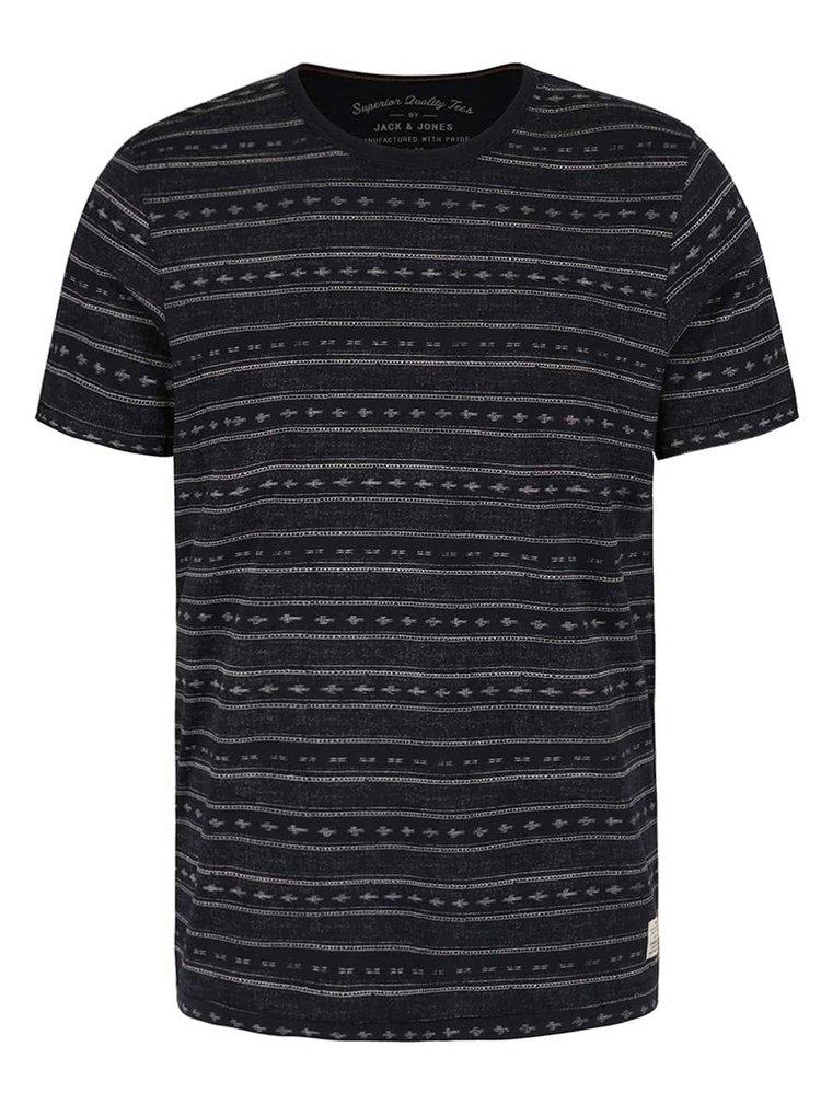 Černé vzorované triko Jack & Jones Steve