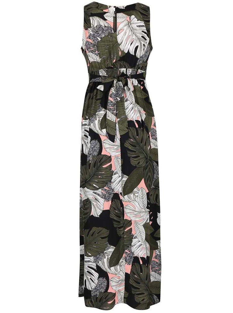 Kaki-čierne maxi šaty s tropickým vzorom Dorothy Perkins