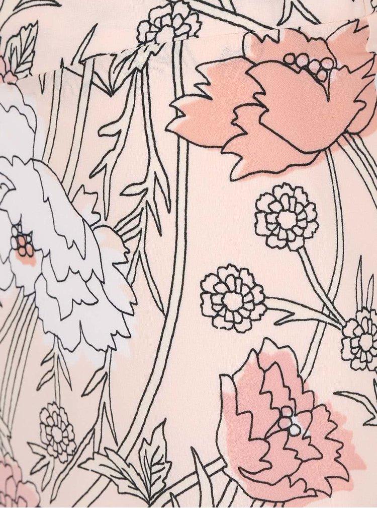 Pudrově růžová květovaná maxisukně s vyšším pasem Dorothy Perkins